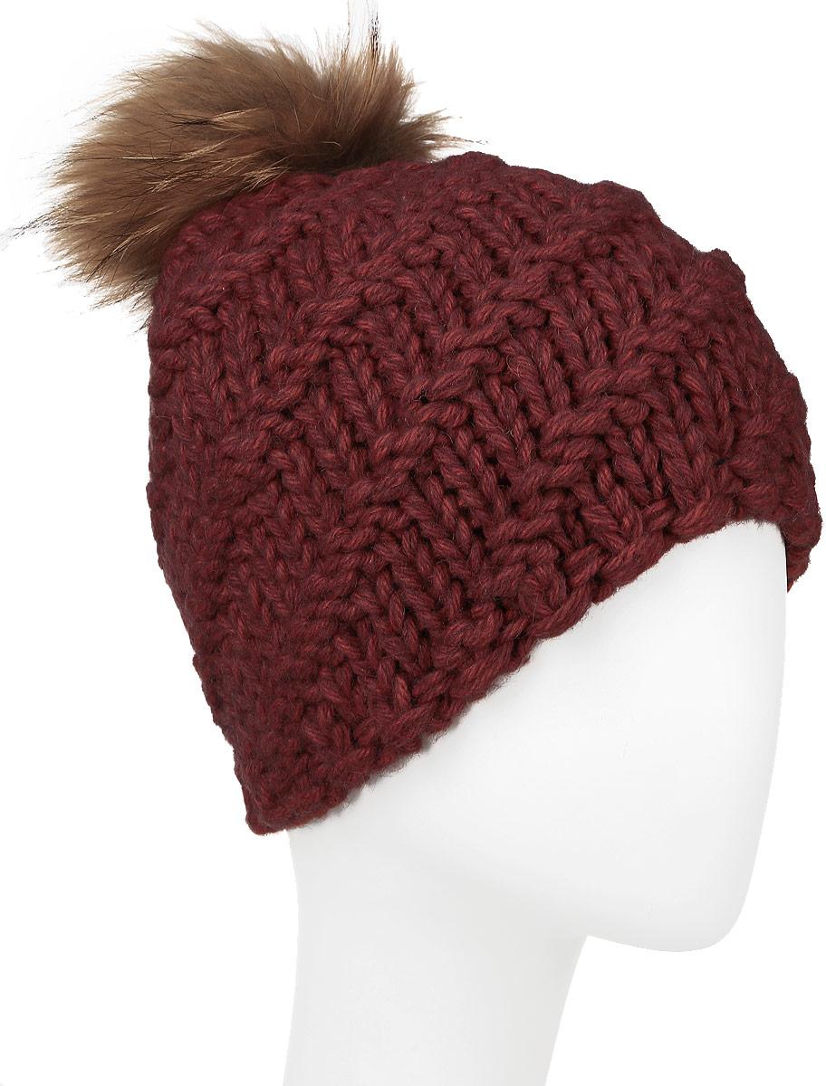 Шапка женская Baon, цвет: терракотовый. B346520. Размер универсальныйB346520_ROUGEВязаная женская шапка Baon отлично подойдет для модниц в холодное время года. Изготовленная из шерсти и акрила, она мягкая и приятная на ощупь, обладает хорошими дышащими свойствами и максимально удерживает тепло. Шапочка плотно облегает голову, что обеспечивает надежную защиту от ветра и мороза. Модель оформлена крупным вязаным узором и помпоном. Дополнено изделие небольшой металлической пластиной с названием бренда.