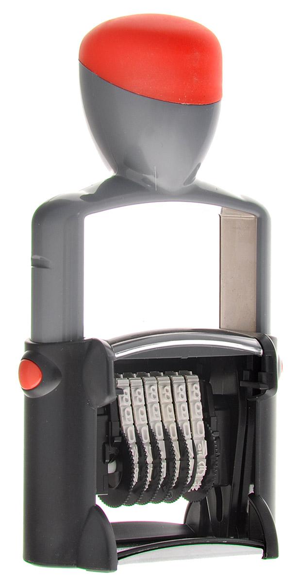 Trodat Нумератор шестиразрядный цвет серый красный 4 мм5546_серый, красныйОднострочный шестиразрядный нумератор Trodat будет незаменим в отделе кадров или в бухгалтерии любой компании.Компактный, но прочный металлический корпус гарантирует долговечное бесперебойное использование. Модель отличается высочайшим удобством в использовании и оптимально ложится в руку благодаря эргономичной ручке. Высота шрифта - 4 мм.Для получения оттиска цифры предварительно окрашиваются при помощи настольной штемпельной подушки. Используется для нумерации документов, проставления артикулов на товарах.Номер устанавливается вручную с помощью колесиков.
