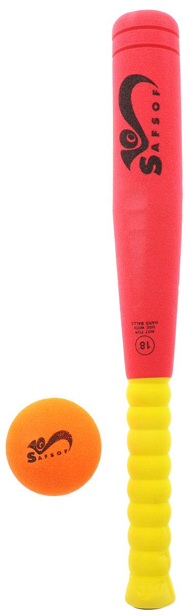 Safsof Игровой набор Бейсбольная бита и мяч цвет красный желтый