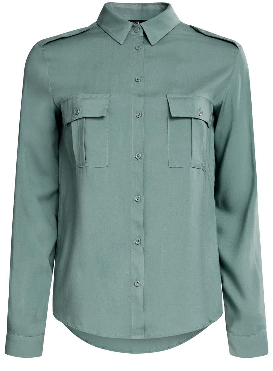 Блузка женская oodji Ultra, цвет: серо-зеленый. 11411127B/26346/6C00N. Размер 42 (48-170) блузки ludmila labkova блузка шифоновая