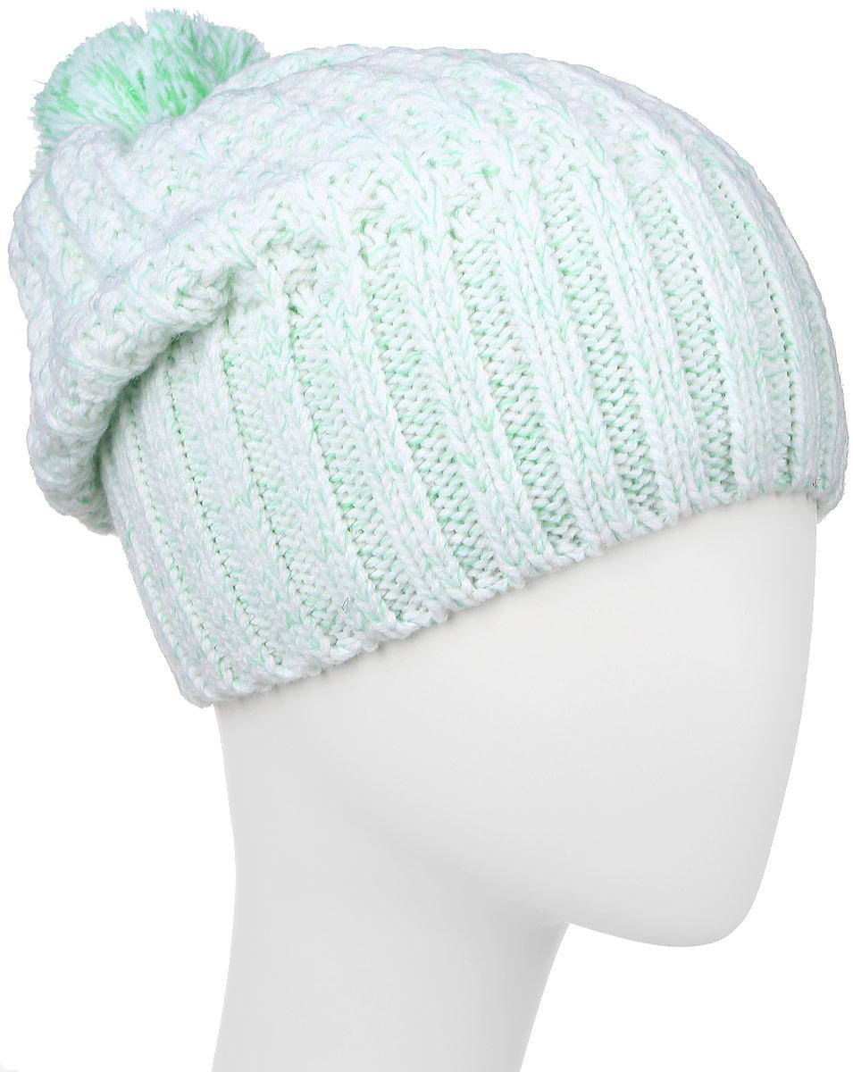 Шапка женская Baon, цвет: зеленый, белый. B346501. Размер универсальныйB346501_RIME GRASSВязаная женская шапка Baon отлично подойдет для модниц в холодное время года. Изготовленная из акрила, шерсти, она мягкая и приятная на ощупь, обладает хорошими дышащими свойствами и максимально удерживает тепло. Шапочка плотно облегает голову, что обеспечивает надежную защиту от ветра и мороза.Модель оформлена вязаным узором и помпоном на макушке. Дополнено изделие небольшой металлической пластиной с названием бренда.