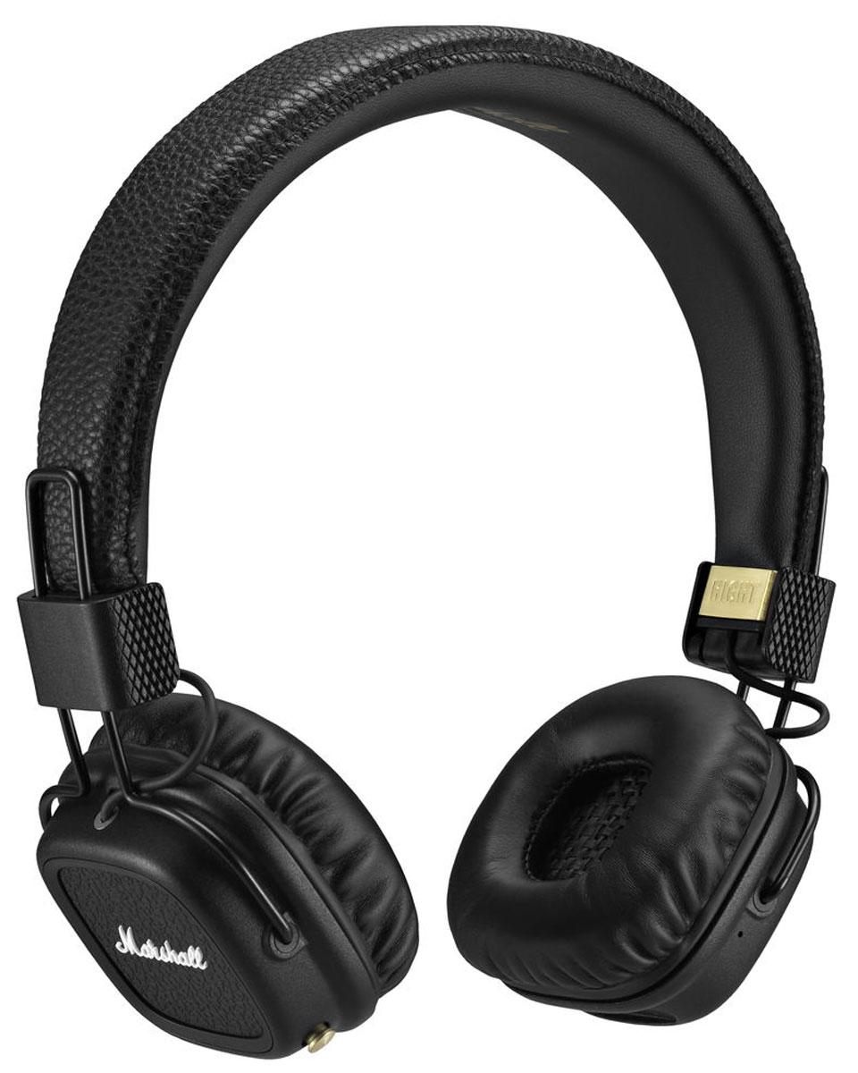 Marshall Major II Bluetooth, Black наушники7340055318631Major II Bluetooth соединяют в себе свободу и комфорт, которые предоставляют беспроводные наушники, с более чем 50-летним опытом компании Marshall в создании высококлассного аудиооборудования. Легко подключитесь к воспроизводящему устройству по современному протоколу Bluetooth aptX и слушайте музыку в течение длительного времени (более 30 часов) без подзарядки. С этой версией Bluetooth вы не только можете прослушивать свои любимые композиции в CD-качестве, но и смотреть фильмы без проблем синхронизации аудио / видео.Возможно и альтернативное подключение к источнику звука – по комплектному проводу. Двусторонний кабель с обмоткой, оснащённый микрофоном и пультом управления, является полностью съёмным, он позволяет подключаться к гаджетам, имеющим выход 3,5 мм. Когда применяется беспроводное подключение, свободный разъём можно использовать, чтобы поделиться музыкой с другом.С помощью кнопки на чашке наушников вы можете управлять воспроизведением, ставить на паузу, включать случайный порядок и менять уровень громкости. Также реализована функциональность управления звонками – вы можете принимать их, скидывать и завершать разговор несколькими простыми нажатиями. Разговаривать по телефону возможно как при проводном, так и при беспроводном подключении — имеется встроенный в чашку наушников микрофон.