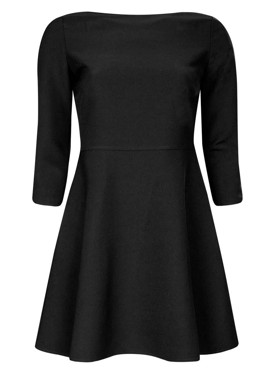 Платье oodji Ultra, цвет: черный. 11911001/38461/2900N. Размер 42 (48-170)11911001/38461/2900NСтильное платье oodji Ultra изготовлено из полиэстера с добавлением эластана. У модели спереди круглый вырез, а вырез на спине дополнен широкими перекрестными лентами. С одного бока платья имеется скрытая застежка-молния. Рукава 3/4, подол слегка расклешен.