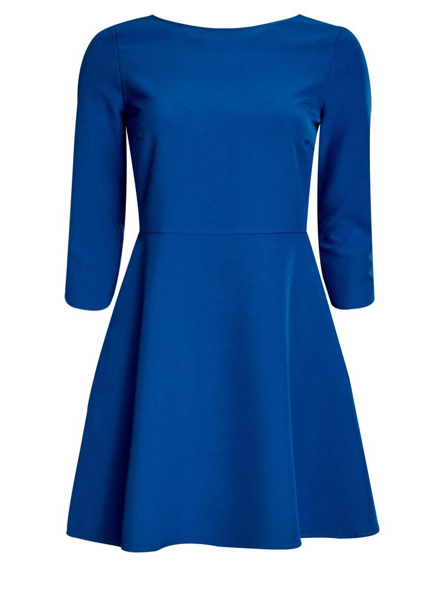 Платье oodji Ultra, цвет: синий. 11911001/38461/7500N. Размер 34 (40-170)11911001/38461/7500NСтильное платье oodji Ultra изготовлено из полиэстера с добавлением эластана. У модели спереди круглый вырез, а вырез на спине дополнен широкими перекрестными лентами. С одного бока платья имеется скрытая застежка-молния. Рукава 3/4, подол слегка расклешен.
