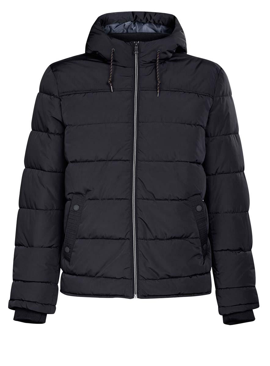 Куртка мужская oodji Basic, цвет: темно-синий. 1B112006M/39877N/7900N. Размер L (52/54-182)1B112006M/39877N/7900NМужская куртка oodji Basic выполнена из 100% полиэстера. В качестве подкладки и утеплителя также используется полиэстер. Модель с несъемным капюшоном застегивается на застежку-молнию. Капюшон дополнен по краю шнурком-кулиской, а по низу - эластичной резинкой. Рукава имеют внутренние эластичные манжеты. Низ изделия дополнен эластичным шнурком-кулиской. Спереди расположено два прорезных кармана на кнопках, а с внутренней стороны - прорезной карман на застежке-молнии.