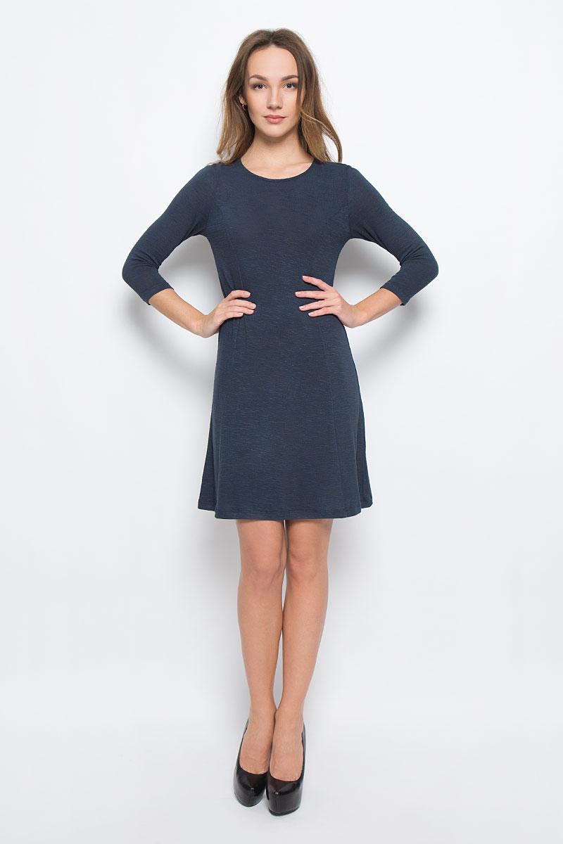 Платье Broadway Racquel, цвет: темно-синий. 10156906_526. Размер S (44)10156906_526Стильное платье Broadway Racquel выполненное из комбинированного материала отлично дополнит ваш гардероб. Модель А-силуэта с круглым вырезом горловины и рукавами 3/4.