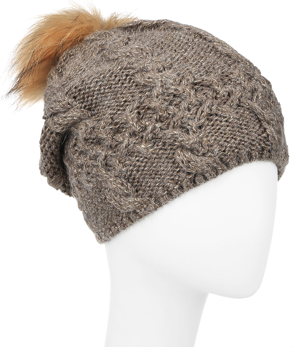 Шапка женская Baon, цвет: коричневый. B346510. Размер универсальныйB346510_CARIBOUСтильная женская шапка Baon, изготовленная из мягкой пряжи смешанного состава, она обладает хорошими дышащими свойствами и хорошо удерживает тепло. На макушке изделие дополнено помпоном из натурального меха. Практичная форма шапки делает ее очень комфортной, а маленькая аккуратная металлическая пластина с названием бренда подчеркивает ее оригинальность.