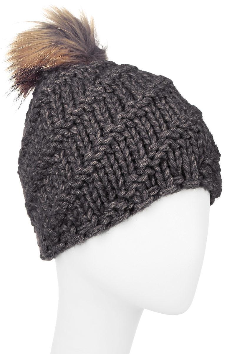 Шапка женская Baon, цвет: коричневый. B346520. Размер универсальныйB346520_FLINTВязаная женская шапка Baon отлично подойдет для модниц в холодное время года. Изготовленная из шерсти и акрила, она мягкая и приятная на ощупь, обладает хорошими дышащими свойствами и максимально удерживает тепло. Шапочка плотно облегает голову, что обеспечивает надежную защиту от ветра и мороза. Модель оформлена крупным вязаным узором и помпоном. Дополнено изделие небольшой металлической пластиной с названием бренда.