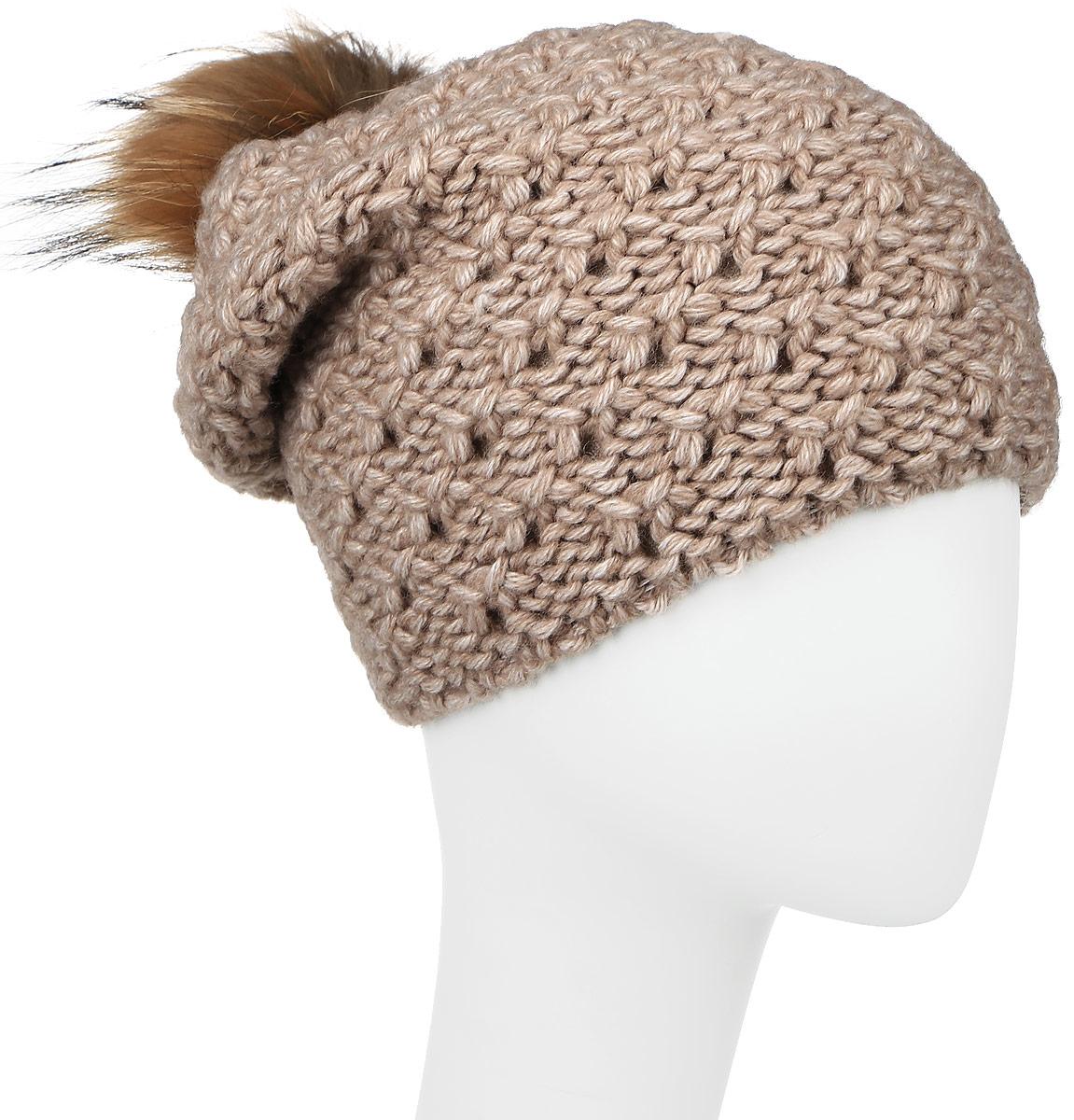 Шапка женская Baon, цвет: светло-коричневый. B346518. Размер универсальныйB346518_BEIGEВязаная женская шапка Baon отлично подойдет для модниц в холодное время года. Изготовленная из шерсти и акрила, она мягкая и приятная на ощупь, обладает хорошими дышащими свойствами и максимально удерживает тепло. Шапочка плотно облегает голову, что обеспечивает надежную защиту от ветра и мороза.Модель шапки оформлена крупным вязаным узором и на макушке дополнена меховым помпоном. Такая шапка не только теплый головной убор, но и стильный аксессуар.