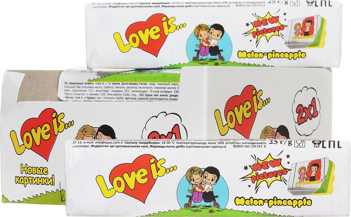 Love is Дыня-ананас жевательные конфеты, 300 г (12 шт)70290Жевательная конфета Love is Дыня-ананас - это пять ирисок-стиков.Перед вами блок из 12 конфет, чтобы стало больше любви и еще больше вкладышей для общей коллекции. Жевательные конфеты Love is Дыня-ананас - жевательные конфеты c долгим вкусом, приятным двойным ароматом.