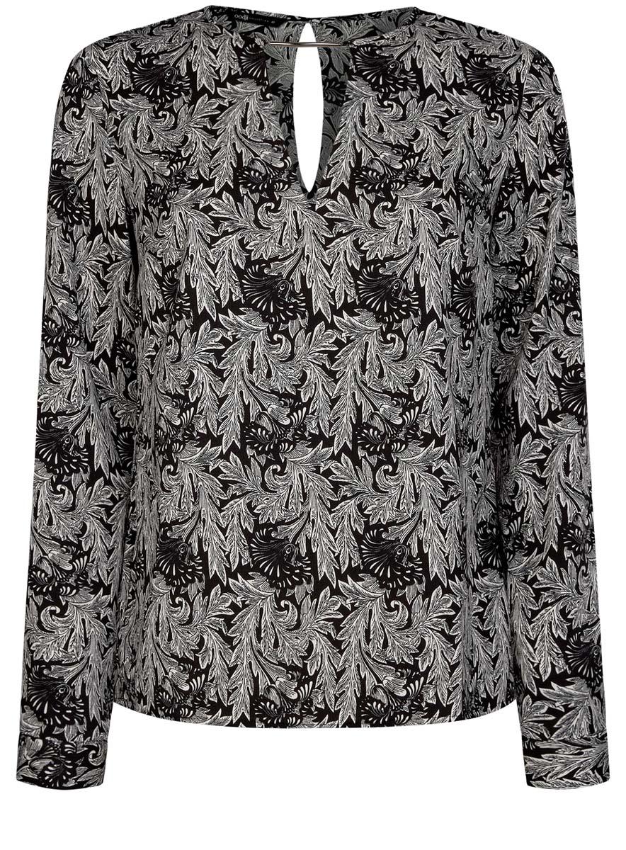 Блузка женская oodji Collection, цвет: черный, белый. 21400396/38580/2912O. Размер 42 (48-170)21400396/38580/2912OЖенская блузка oodji Collection изготовлена из легкой ткани свободного кроя. Блузка имеет длинные рукава и оригинальный вырез горловины, дополненный декоративной вставкой. На спинке так же имеется вырез-капелька. Застегивается сзади и на манжетах на металлические пуговицы.