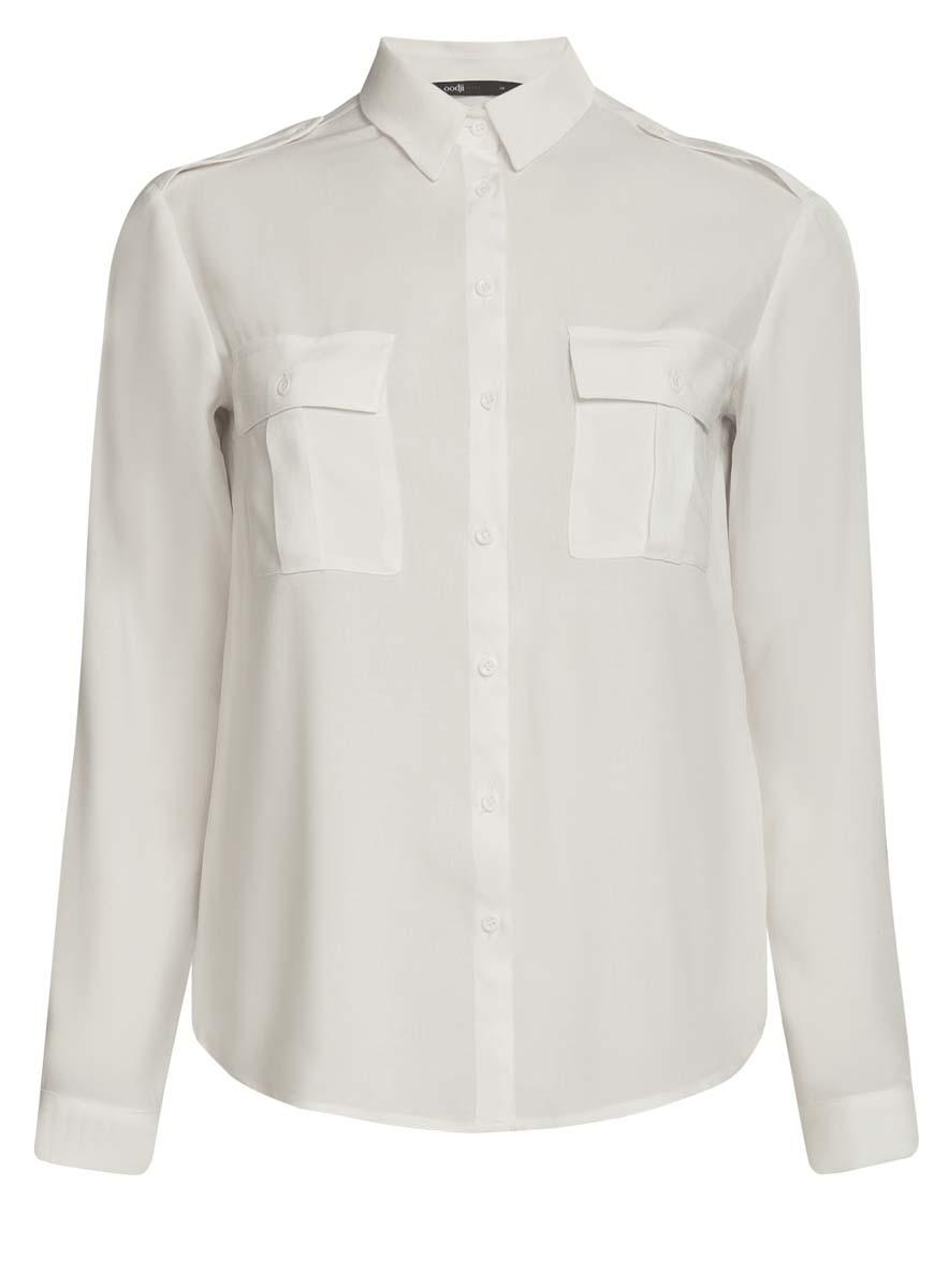 Блузка женская oodji Ultra, цвет: белый. 11411127B/26346/1200N. Размер 38 (44-170)