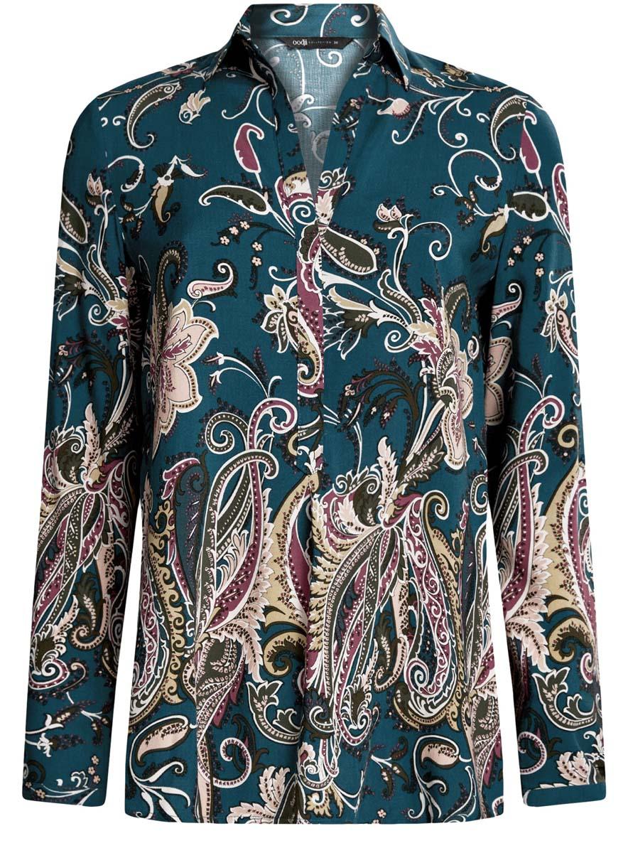 Блузка женская oodji Collection, цвет: морская волна, темный хаки. 21411144-4/26346/6C68E. Размер 38 (44-170)21411144-4/26346/6C68EОригинальная женская блузка oodji Collection выполнена из качественной вискозы. Модель свободного кроя с отложным воротником и длинными рукавами застегивается спереди на пуговицы скрытые планкой. Манжеты рукавов также имеют застежки-пуговицы. Спереди модель дополнена элегантным V-образным вырезом. Оформлена блузка стильным принтом с узорами. Спинка модели немного удлинена.