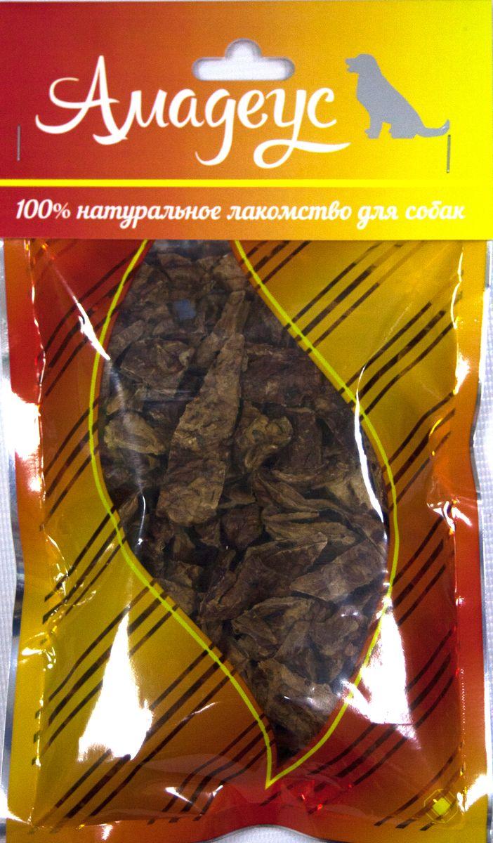 Лакомство для собак Амадеус Легкое говяжье, 50 г58538Лакомство для собак Амадеус Легкое говяжье - 100% натуральный продукт почти без запаха, а также без содержания химических добавок. При сушке не использовались отбеливатели и консерванты. Лакомство изготавливается из тщательно отобранного и проверенного высококачественного отечественного сырья. Содержит низкокалорийный, легкоусвояемый, гипоаллергенный белок. Продукт богат витаминами и ферментами микрофлоры желудка жвачных животных.Рекомендовано для профилактики витаминного и ферментного дефицита у собак и кошек всех пород и возрастов. Товар сертифицирован.