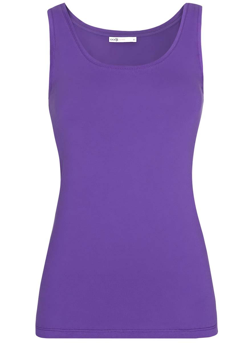 Майка женская oodji Ultra, цвет: фиолетовый. 14315002B/46154/8300N. Размер XS (42)14315002B/46154/8300NЖенская майка oodji Ultra изготовлена из натурального хлопка. Модель с круглым вырезом горловины выполнена в лаконичном дизайне.