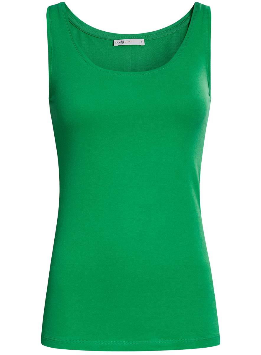 Майка женская oodji Ultra, цвет: зеленый. 14315002B/46154/6A00N. Размер XXS (40) футболка женская oodji ultra цвет зеленый 2 шт 14701008t2 46154 6a00n размер s 44