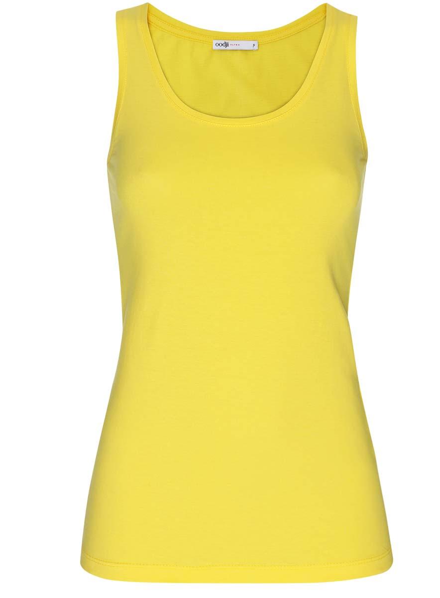 Майка женская oodji Ultra, цвет: лимонный. 14315002B/46154/5100N. Размер XXS (40)14315002B/46154/5100NЖенская майка oodji Ultra изготовлена из натурального хлопка. Модель с круглым вырезом горловины выполнена в лаконичном дизайне.