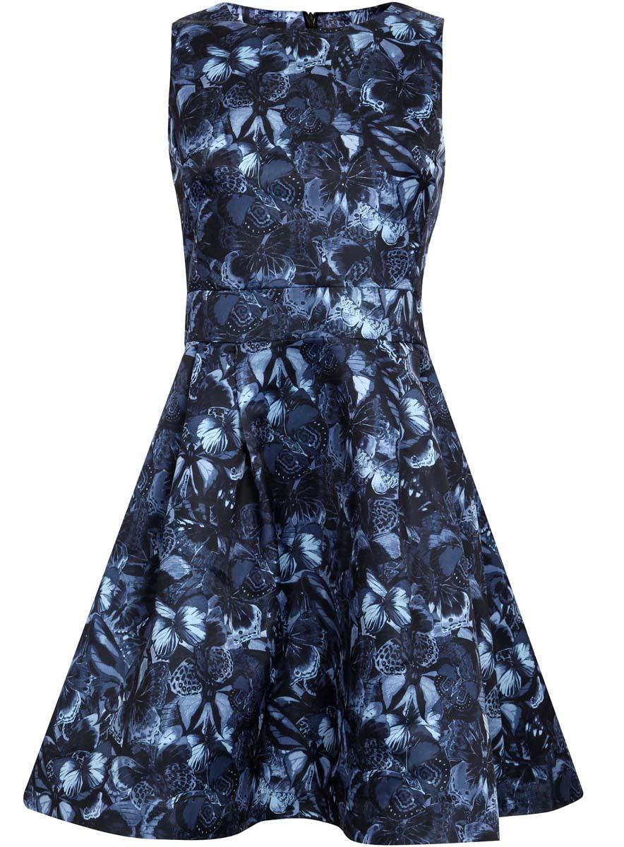 Платье oodji Ultra, цвет: темно-синий, черный. 11902151/24393/7929U. Размер 34 (40-170)11902151/24393/7929UСтильное платье oodji Ultra полностью выполнено из полиэстера. Модель с расклешенной юбкой, круглым вырезом и без рукавов застегивается на молнию на спине.