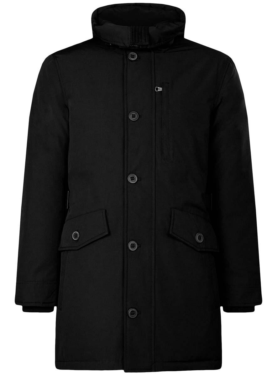 Куртка мужская oodji Lab, цвет: черный. 1L414003M/44429N/2900N. Размер L (52/54-182)1L414003M/44429N/2900NСтильная мужская куртка oodji Lab изготовлена из полиэстера с добавлением хлопка. В качестве утеплителя используется полиэстер.Куртка с несъемным капюшоном застегивается на застежку-молнию и дополнительно на клапан с пуговицами. Капюшон регулируется с помощью эластичного шнурка и ремешка. Спереди расположены четыре накладных кармана, два из которых с клапанами на пуговицах, на груди - прорезной карман на застежке-молнии, с внутренней стороны - два прорезных кармана на кнопках и накладной карман с клапаном на кнопке.Манжеты рукавов дополнены трикотажными напульсниками. На спинке по линии талии расположен регулирующий ремешок с пряжками.