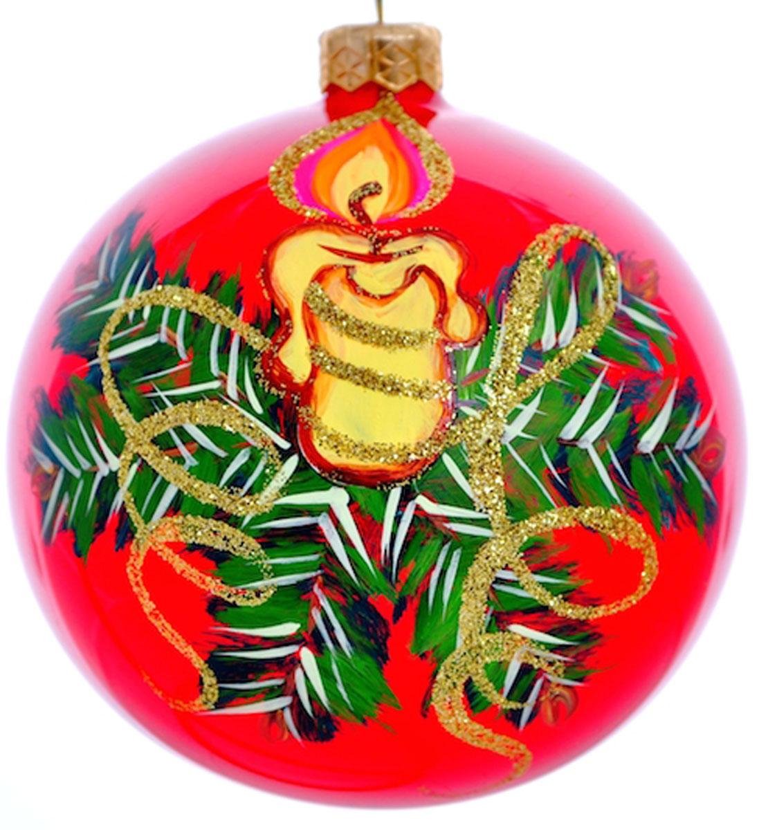 """Стеклянная елочная игрушка - Шар """"Свеча с наплывом"""" диаметром 100 мм. Ручная роспись. Упакован в подарочную коробку + защитный гофрокороб."""