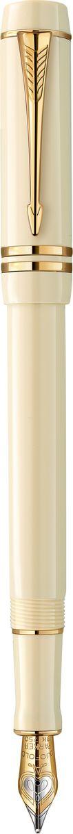 Parker Ручка перьевая Duofold Ivory GT Cent чернаяPARKER-1907136Ручка перьевая Duofold Ivory GT Cent, литой акрил.корп. слон.кость,позол.дет, перо 18к, черн.чер F