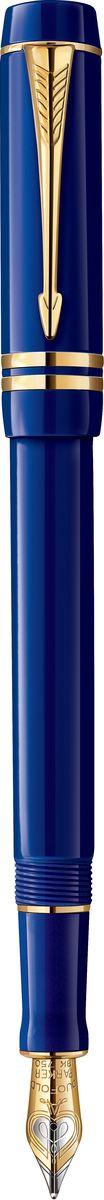 Parker Ручка перьевая Duofold Lapis Blue GT черная96079Ручка перьевая Duofold Lapis Blue GT, литой акрил.корп. синего цвета,позол.дет, перо 18к, черн.чер F