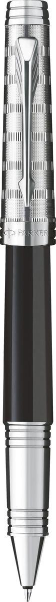 Parker Ручка роллер Premier Custom Tartan ST чернаяPARKER-S0887910Роллер Premier Custom Tartan ST, черн лак корп,гравир. посеребр.колп. и серебр.дет.,чер.ч,F