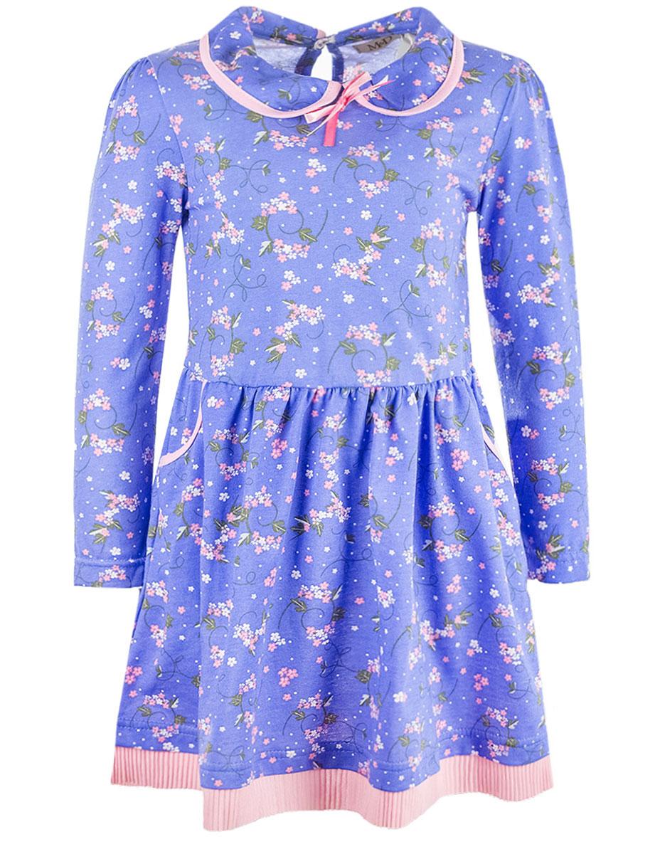 Платье для девочки M&D, цвет: сиренево-синий, розовый. WJD26048М-53. Размер 98WJD26048М-53Очаровательное платье M&D идеально подойдет вашей дочурке. Изделие выполнено из натурального хлопка и оформлено цветочным принтом. Модель с длинными рукавами и отложным воротником застегивается на пуговицу, расположенную на спинке. Спереди расположены два втачных кармана. На талии модель дополнена резинкой.