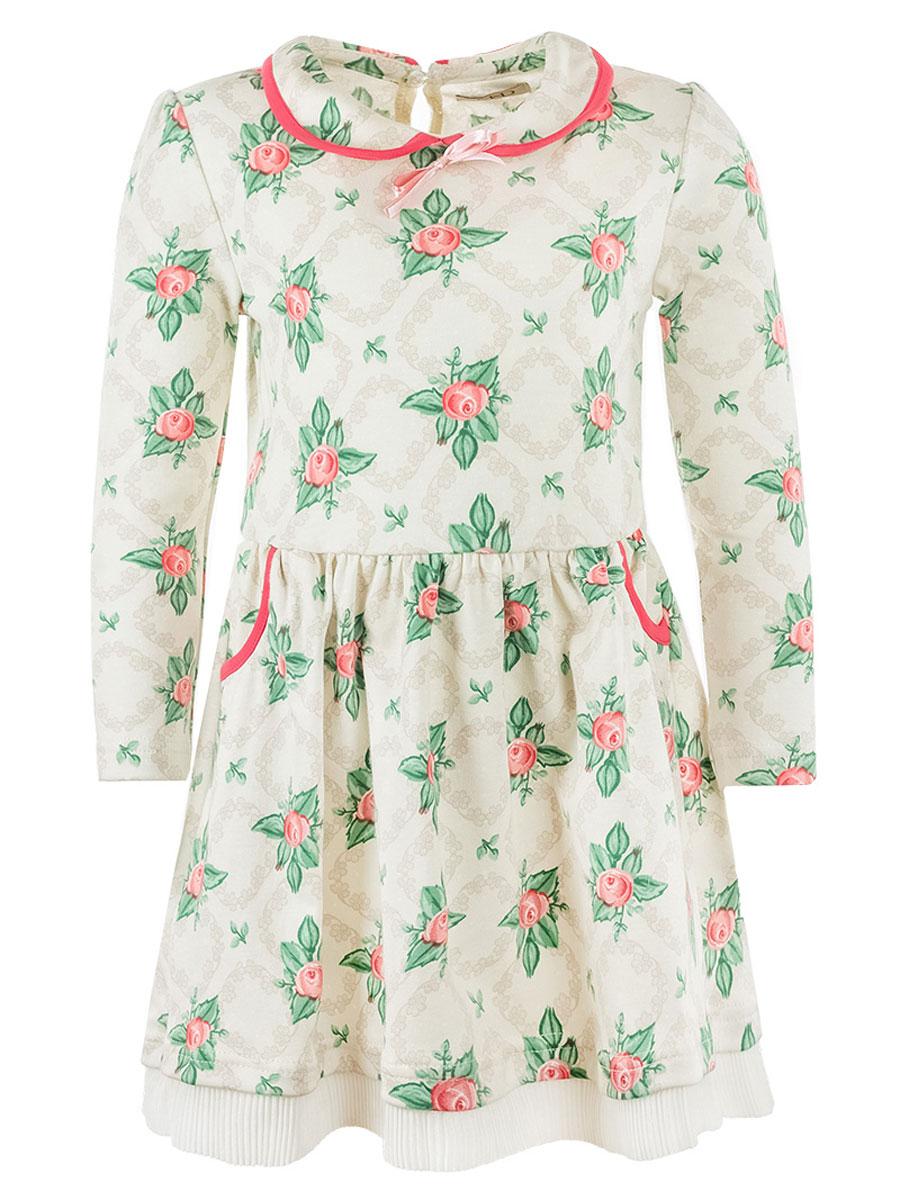 Платье для девочки M&D, цвет: бежевый, розовый, зеленый. WJD26045М-77. Размер 98WJD26045М-77Очаровательное платье для девочки M&D, изготовленное из натурального хлопка, легкое и приятное к телу.Модель с отложным воротником и длинными рукавами застегивается по спинке на пуговицу. От линии талии заложены складочки, придающие изделию пышность и воздушность. По бокам юбочки оформлены два втачных кармана. Кромка воротника и края карманов дополнены трикотажной бейкой. Платье с цветочным принтом идеально подойдет вашей маленькой моднице.