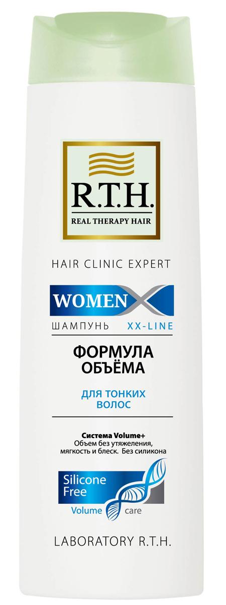 Шампунь R.T.H. Women Формула объема4604903000042Шампунь без силикона деликатно очищает и придает заметный объем. Система Volume+ укрепляет тонкие волосы, уплотняет волосы по всей длине, защищает их и облегчает укладку.