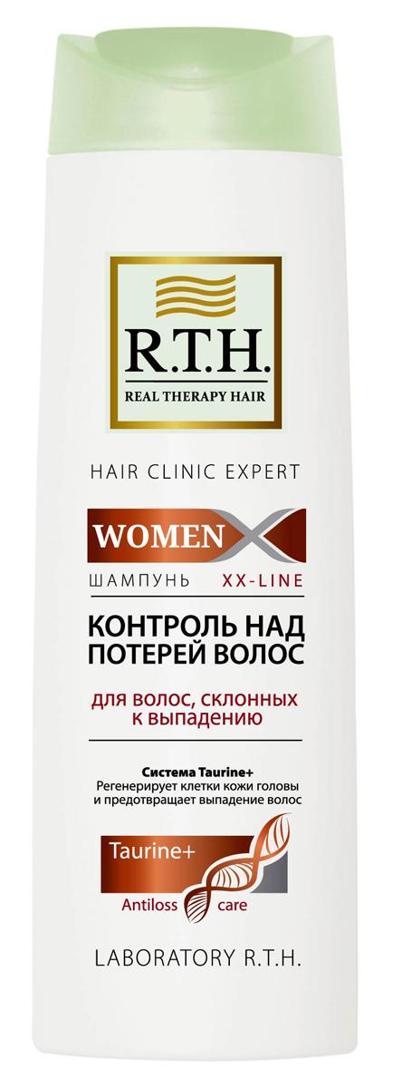 Шампунь R.T.H. Women Контроль над потерей волос4604903000110Формула шампуня обогащена системой Taurine+, которая утолщает и укрепляет стержень волоса, предотвращает процесс преждевременного выпадения волос. Комбинация витаминов PP и B6 обеспечивает регенерацию клеток кожи головы и корней волос.