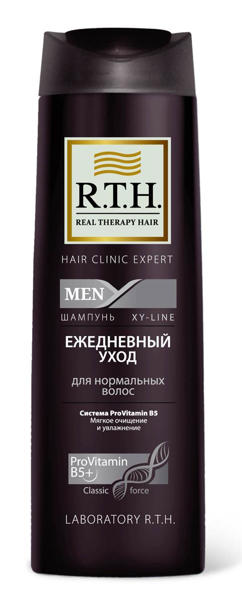 Шампунь R.T.H. Men Ежедневный уход4604903000141Эффективно очищает и увлажняет волосы и кожу головы. Протеин в составе формулы защищает структуру волос и предотвращает сухость кожи головы при ежедневном использовании. Шампунь восстанавливает волосы, обеспечивает естественное увлажнение и защищает от последующих негативных воздействий окружающей среды.