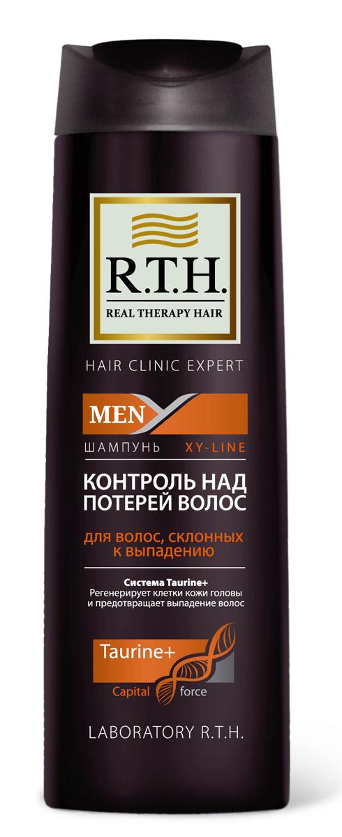 Шампунь R.T.H. Men Контроль над потерей волос4604903000196Формула шампуня обогащена системой Taurine+, которая утолщает и укрепляет стержень волоса, предотвращает процесс преждевременного выпадения волос. Комбинация витаминов PP и B6 обеспечивает регенерацию клеток кожи головы и корней волос.