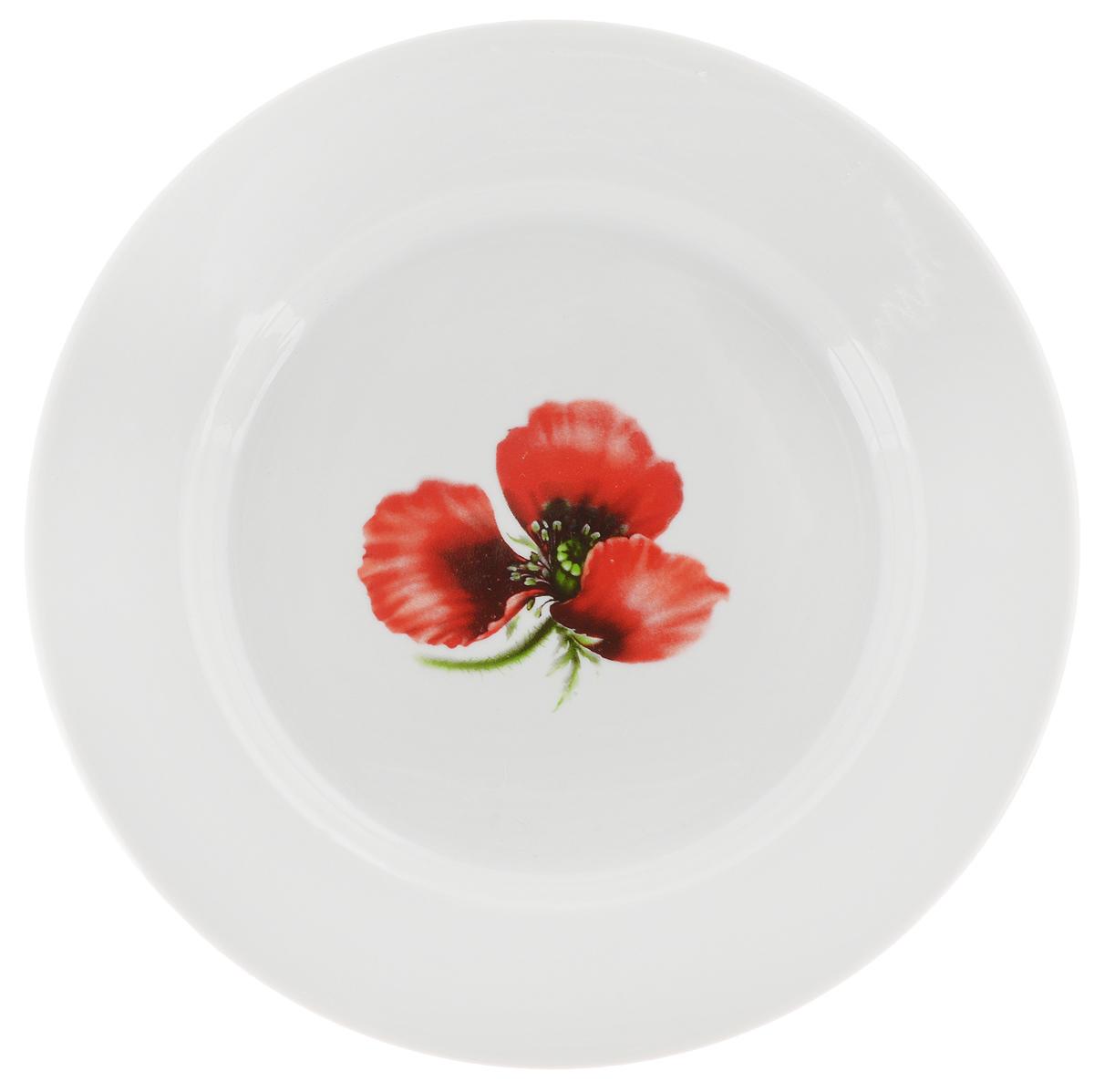 Тарелка Фарфор Вербилок Маков цвет, диаметр 20 см8090760Тарелка Фарфор Вербилок Маков цвет изготовлена из высококачественного фарфора. Изделие декорировано красочным изображением. Такая тарелка отлично подойдет в качестве блюда, она идеальна для сервировки закусок, нарезок, горячих блюд. Тарелка прекрасно дополнит сервировку стола и порадует вас оригинальным дизайном. Диаметр тарелки по верхнему краю: 20 см. Высота стенки: 2,5 см.