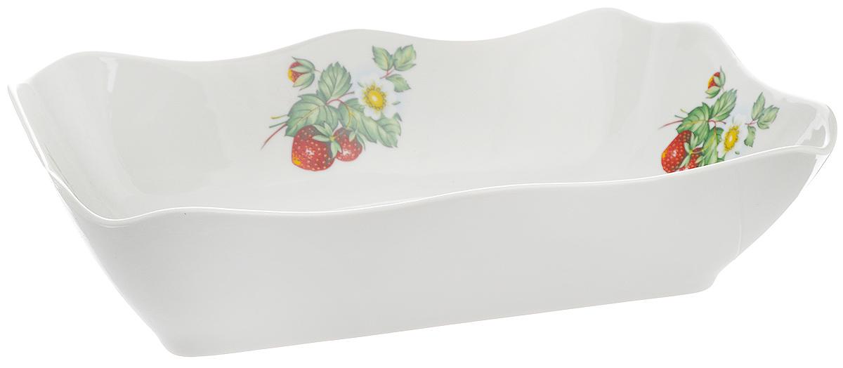 Блюдо для заливного Фарфор Вербилок Цветущая земляника, 27 х 16 х 6,5 см салатник фарфор вербилок цветущая земляника 360 мл