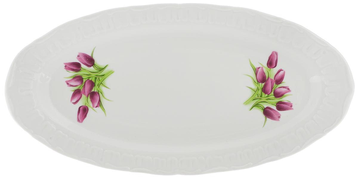 """Селедочница Фарфор Вербилок """"Тюльпаны"""", цвет: красный, зеленый, длина 27,5 см"""