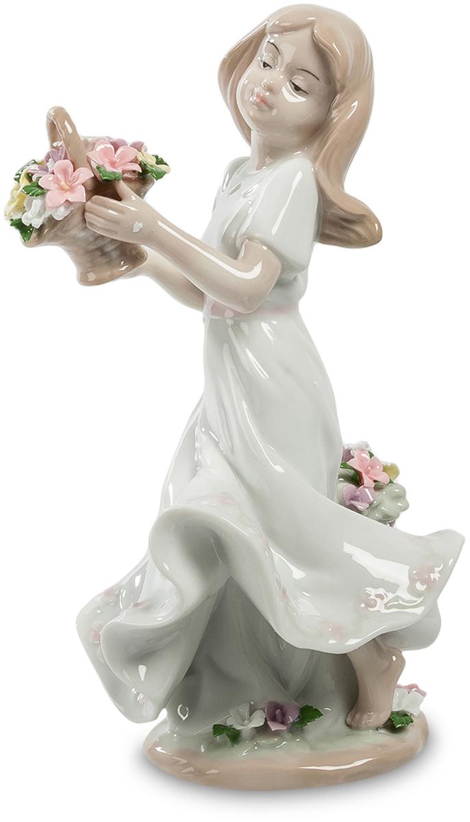 Статуэтка Pavone Девушка с цветами, цвет: белый, бежевый. JP-22/25 фигурка pavone амурчик jp 09 5