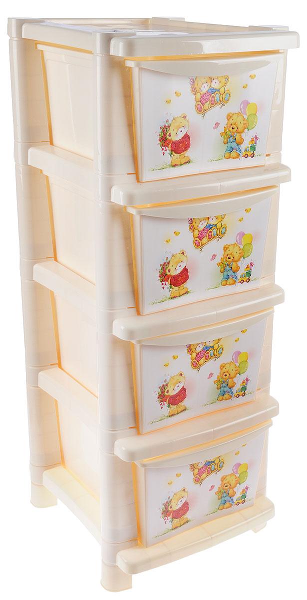 Little Angel Детский комод Мишки с цветами 4 ящика -  Ящики для игрушек