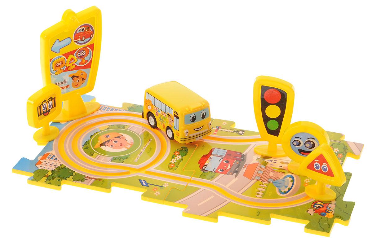 Дрофа-Медиа Заводная машинка с треком-пазлом и дорожными знаками дрофа медиа пазл для малышей играй и собирай 4 в 1 2938