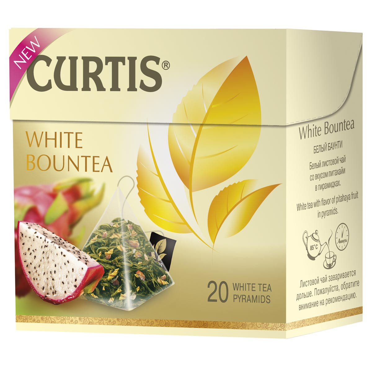 Curtis White Bountea белый чай в пирамидках, 20 шт4620015851044Обновленный купаж листового белого чая с волнующим тропическим ароматом и сладкими нотками питахайи - незабываемое путешествие на далекие экзотические острова. Чай обладает великолепным вкусом, тонким и немного сладковатым, а также приятным ароматом.