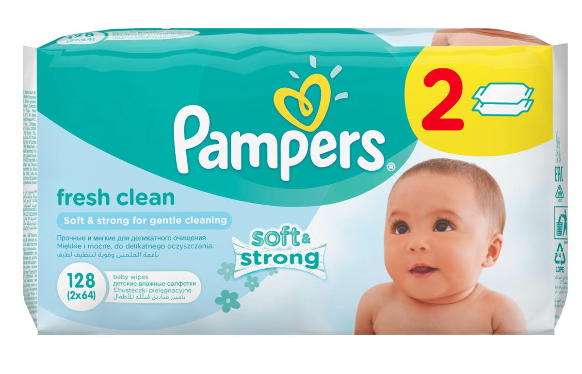 Pampers Детские влажные салфетки Baby Fresh Clean 128 шт lambert kay 013trp 5712 fresh n clean cologne spray fresh floral scent