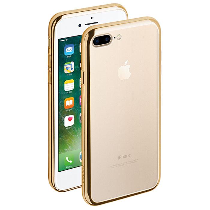 Deppa Gel Plus Case чехол для Apple iPhone 7 Plus/8 Plus, Gold85261Чехол Deppa Gel Plus Case для Apple iPhone 7 Plus предназначен для защиты корпуса смартфона от механических повреждений и царапин в процессе эксплуатации. Плотный высокотехнологичный TPU (силикон) производства Bayer в разы повышает защитные функции чехла.Кейс эластичен, устойчив к изломам, не запотевает и не желтеет даже при длительной эксплуатации. Кейс надежно защищает iPhone со всех сторон и имеет все необходимые, тщательно выверенные отверстия для доступа к функциональным портам, разъемам и кнопкам смартфона. Вы можете легко зарядить устройство, не снимая чехол.Специально разработанный кейс для iPhone выполнен с применением особой технологии Electroplating: специальное гальванопокрытие и стильная рамка с эффектом металла придают особый шик вашему устройству.