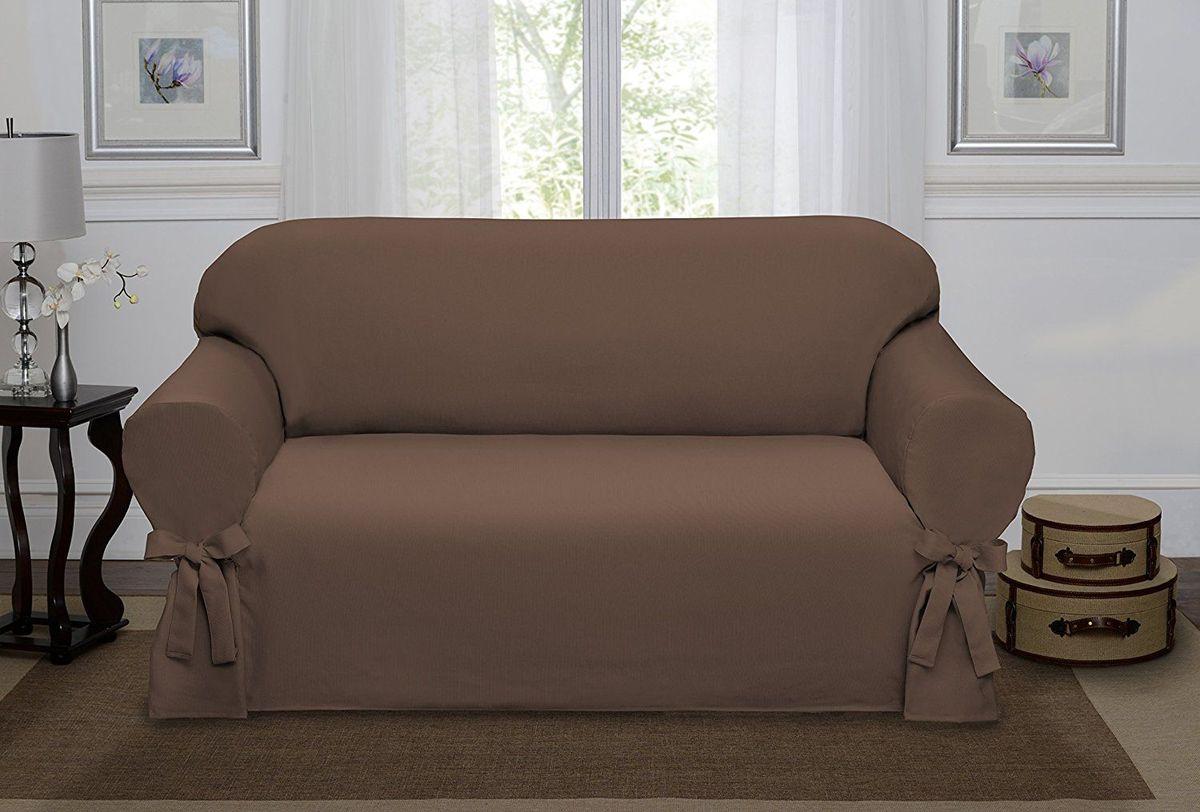 """Чехол на двухместный диван Медежда """"Брайтон"""" изготовлен из качественного материала на основе хлопка и полиэстера. Чехол не эластичен, но хорошо принимает форму дивана. Подходит для диванов с шириной спинки от 145 см до 185 см. Благодаря классической однотонной расцветке чехол легко гармонирует почти со всеми палитрами цвета и любым типом интерьера. Изделие украсит вашу гостиную и создаст комфорт и уют в доме.  Чехол очень удобен и прост в установке.  Чехлы на мебель """"Медежда"""" универсальны и подходят на большинство моделей мебели. Такова особенность кроя изделий свободного стиля или тянущегося материала стрейч стиля. Основное значение при подборе имеет только ширина спинки."""
