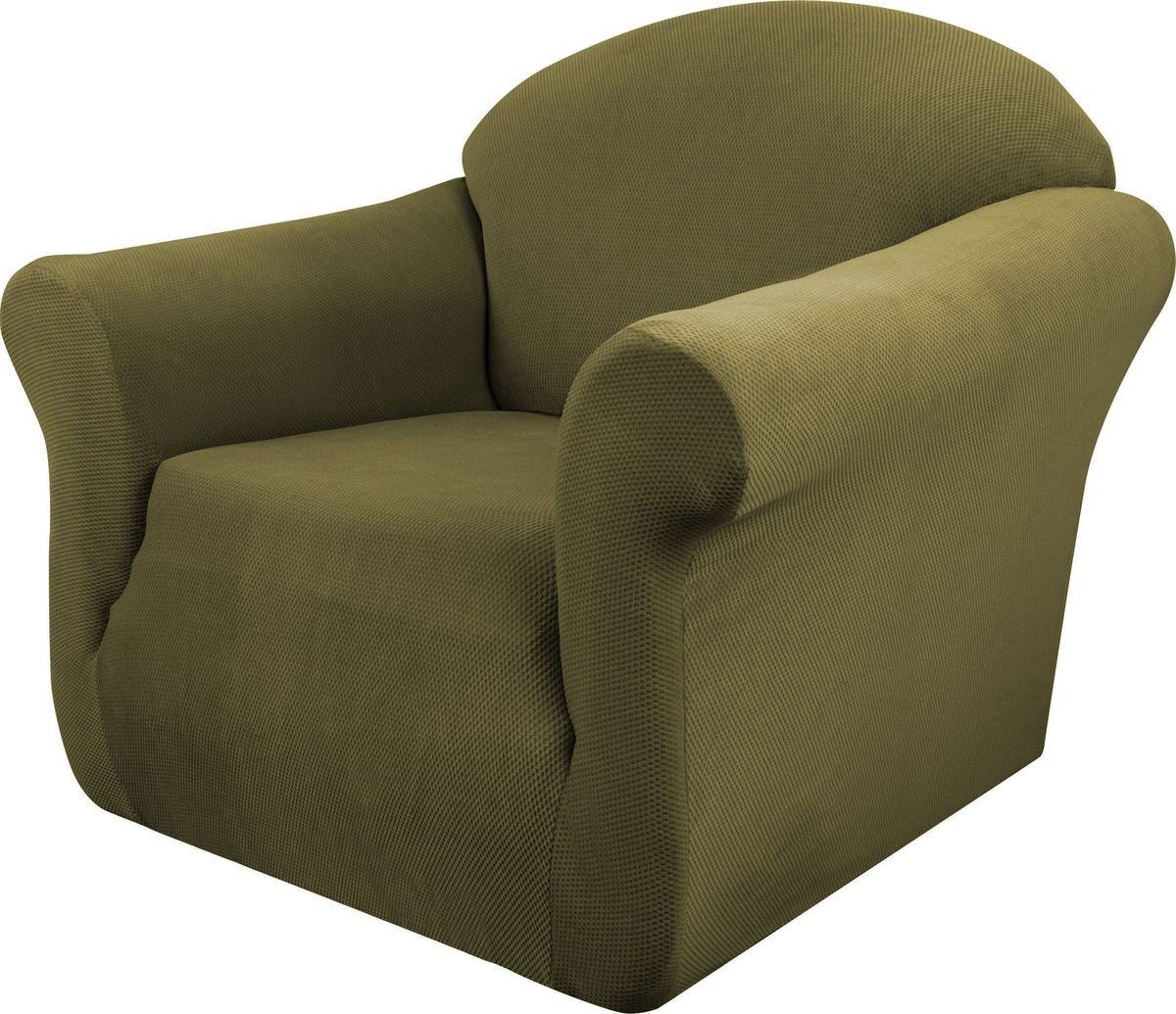 Чехол на кресло Медежда Бирмингем, цвет: оливковый1401031108002Чехол на кресло Медежда Бирмингем изготовлен из стрейчевого велюра (100% полиэстера). Тонкий геометрический дизайн добавляет уют помещению. Велюр - по праву один из уверенных лидеров среди мебельных тканей. Поверхность велюра приятна для прикосновений. Сочетание нежности и прочности - визитная карточка велюра. Вещи из него даже спустя много лет смотрятся, как новые. Чехол легко растягивается и хорошо принимает форму кресла, подходит для большинства стандартных кресел с шириной спинки от 80 см до 110 см и высотой не более 95 см. За счет специальных фиксаторов чехол прочно держится на мебели, не съезжает и не соскальзывает. Имеется инструкция в картинках по установке чехла.