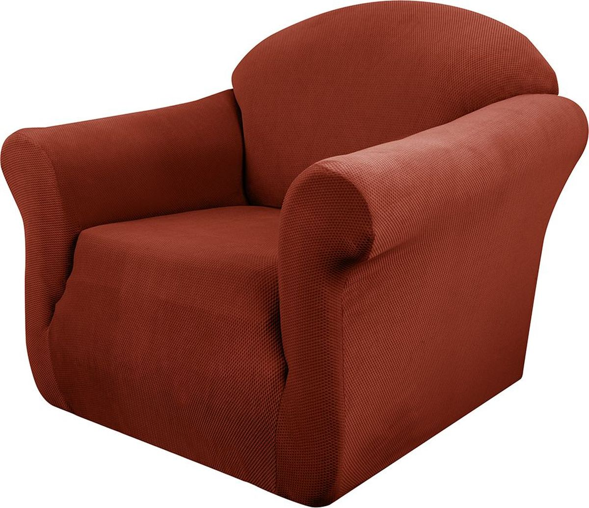 Чехол на кресло Медежда Бирмингем, цвет: терракотовый1401031109002Чехол на кресло Медежда Бирмингем изготовлен из стрейчевого велюра (100% полиэстера). Тонкий геометрический дизайн добавляет уют помещению. Велюр - по праву один из уверенных лидеров среди мебельных тканей. Поверхность велюра приятна для прикосновений. Сочетание нежности и прочности - визитная карточка велюра. Вещи из него даже спустя много лет смотрятся, как новые. Чехол легко растягивается и хорошо принимает форму кресла, подходит для большинства стандартных кресел с шириной спинки от 80 см до 110 см и высотой не более 95 см. За счет специальных фиксаторов чехол прочно держится на мебели, не съезжает и не соскальзывает. Имеется инструкция в картинках по установке чехла.