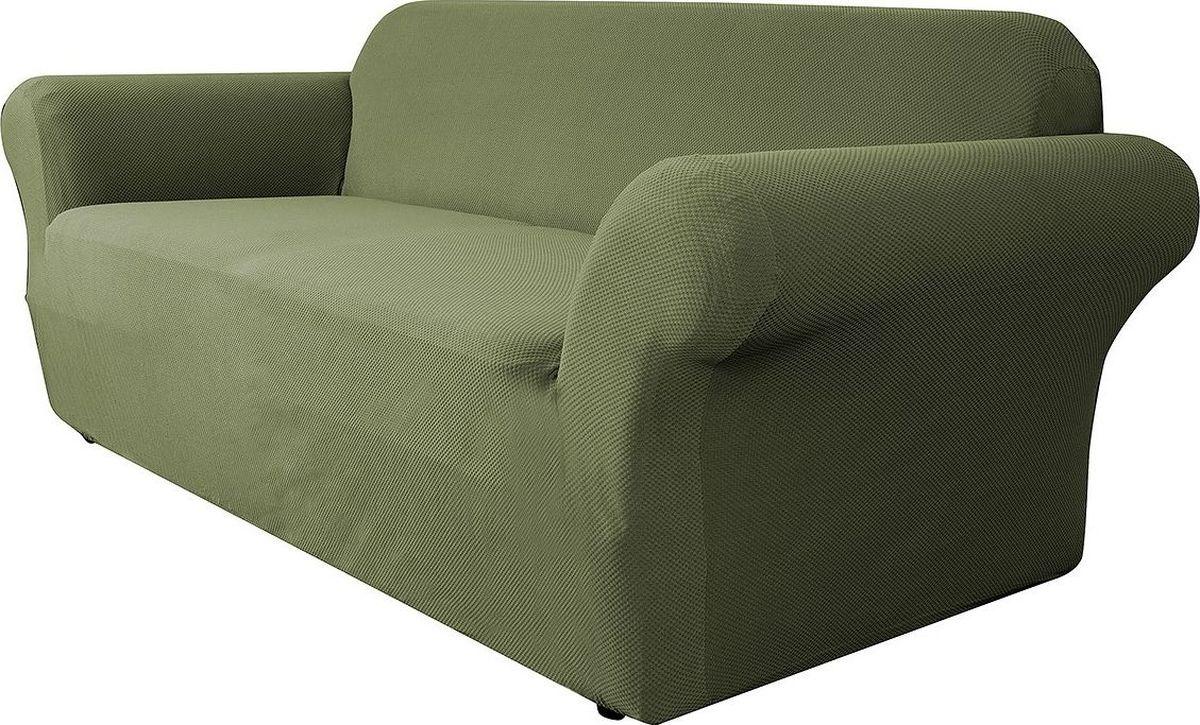 Чехол на трехместный диван Медежда Бирмингем, цвет: оливковый1403031108002Чехол на трехместный диван Медежда Бирмингем изготовлен из стрейчевого велюра (100 полиэстер). Тонкий геометрический дизайн добавляет уют помещению. Велюр - по праву один из уверенных лидеров среди мебельных тканей. Поверхность велюра приятна для прикосновений. Сочетание нежности и прочности - визитная карточка велюра. Вещи из него даже спустя много лет смотрятся, как новые. Чехол легко растягивается и хорошо принимает форму дивана, подходит для большинства стандартных диванов с шириной спинки от 185 см до 235 см. За счет специальных фиксаторов чехол прочно держится на мебели, не съезжает и не соскальзывает. Имеется инструкция в картинках по установке чехла. Ширина спинки: 185-235 см. Длина подлокотника: 60-80 см см. Высота сиденья от пола: 45-50 см. Глубина сиденья: 45-55 см.