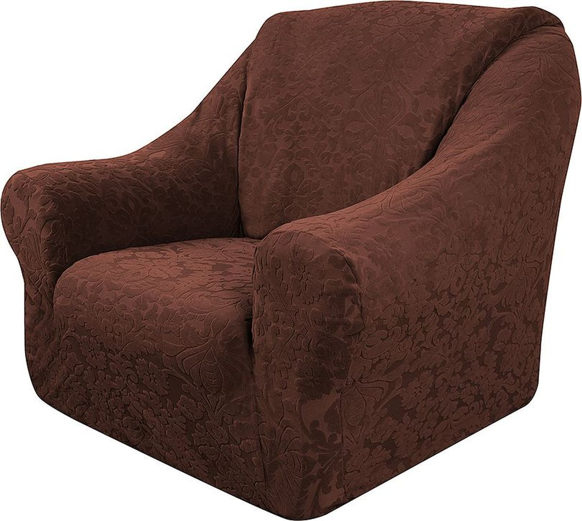 Чехол на кресло Медежда Челтон, цвет: шоколадный1401051111000Универсальный чехол на кресло Медежда Челтон изготовлен из стрейчевого жаккарда. Элегантный выпуклый рисунок прекрасно подходит к интерьеру, как в классическом, так и в современном стиле. Тактильное наслаждение, вызываемое тканью, сочетается с эластичностью. Чехол позволяет красиво облегать формы мебели и выглядеть как дорогая обивка, выполненная на заказ.Чехол легко растягивается, хорошо принимает форму кресла и подходит для стандартных кресел с шириной спинки от 80 см до 110 см и высотой не более 95 см. За счет специальных фиксаторов чехол прочно держится на мебели, не съезжает и не соскальзывает.