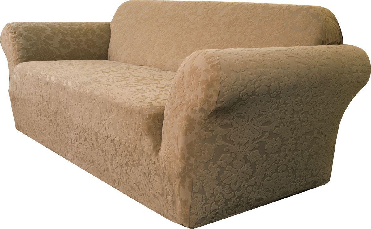 """Универсальный чехол на трехместный диван Медежда """"Челтон"""" изготовлен из стрейчевого жаккарда. Элегантный выпуклый рисунок прекрасно подходит к интерьеру, как в классическом, так и в современном стиле. Тактильное наслаждение, вызываемое тканью, сочетается с эластичностью. Чехол позволяет красиво облегать формы мебели и выглядеть как дорогая обивка, выполненная на заказ. Чехол подходит для стандартных двухместных диванов с шириной спинки от 185 см до 235 см."""