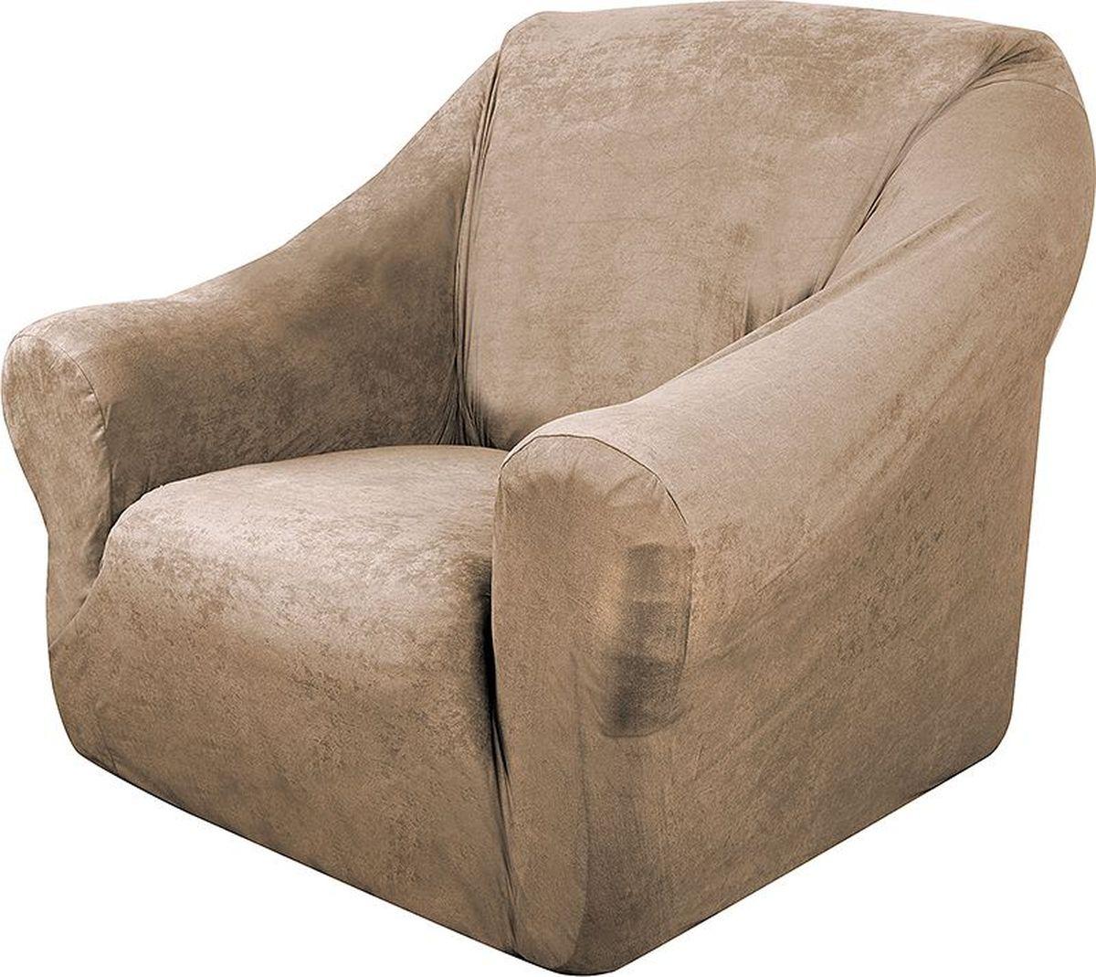 Чехол на кресло Медежда Лидс, цвет: бежевый1401071103000Чехол на кресло Медежда Лидс изготовлен из искусственной замши, благодаря чему он очень приятен на ощупь и практичен в использовании.Чехол легко растягивается, хорошо принимает форму кресла и подходит для стандартных кресел с шириной спинки от 80 см до 110 см и высотой не более 95 см. За счет специальных фиксаторов чехол прочно держится на мебели, не съезжает и не соскальзывает. Искусственная замша сочетает в себе изящество, стиль и характерные эффекты натуральной замши с прочностью, износостойкостью и фантастическими техническими характеристиками самых современных материалов. По внешнему виду материал практически неотличим от натуральной замши, имеет максимальное визуальное сходство и создает неповторимое ощущение теплоты и пространства.