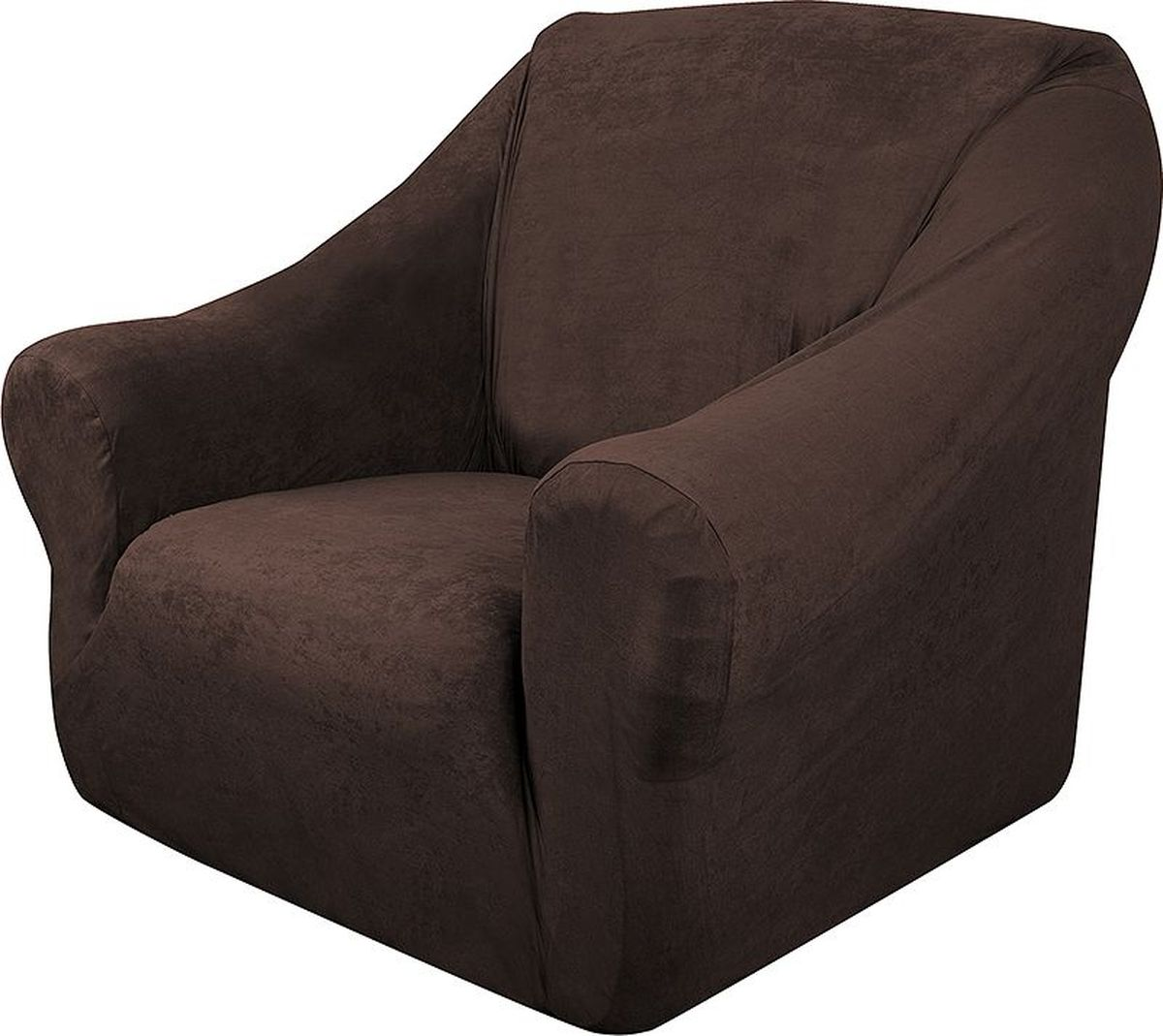 Чехол на кресло Медежда Лидс, цвет: шоколадный1401071111000Чехол на кресло Медежда Лидс изготовлен из искусственной замши, благодаря чему он очень приятен на ощупь и практичен в использовании.Чехол легко растягивается, хорошо принимает форму кресла и подходит для стандартных кресел с шириной спинки от 80 см до 110 см и высотой не более 95 см. За счет специальных фиксаторов чехол прочно держится на мебели, не съезжает и не соскальзывает. Искусственная замша сочетает в себе изящество, стиль и характерные эффекты натуральной замши с прочностью, износостойкостью и фантастическими техническими характеристиками самых современных материалов. По внешнему виду материал практически неотличим от натуральной замши, имеет максимальное визуальное сходство и создает неповторимое ощущение теплоты и пространства.